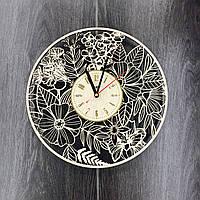 Часы настенные деревянные Летние цветы, фото 1