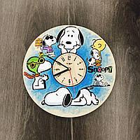 Детские настенные часы из дерева Снупи