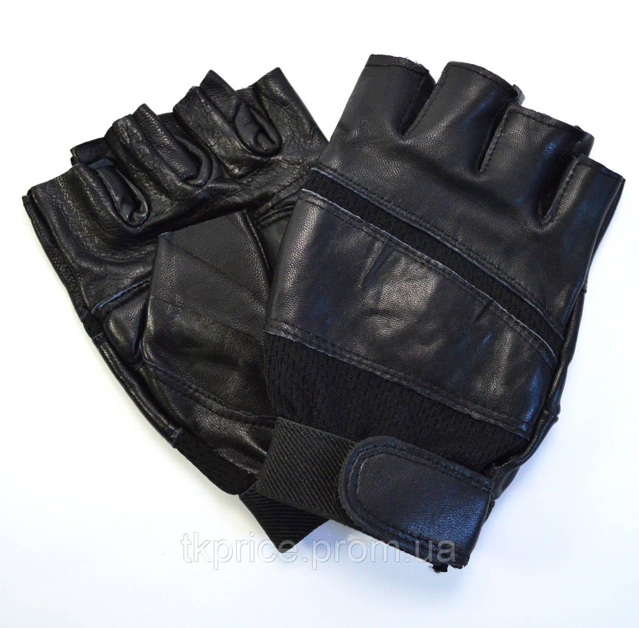 Мужские кожаные перчатки без пальцев с усиленной ладошкой
