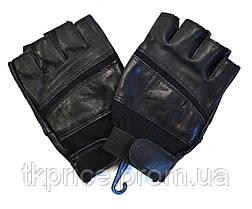 Мужские кожаные перчатки без пальцев с усиленной ладошкой, фото 3