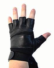 Мужские кожаные перчатки без пальцев с усиленной ладошкой, фото 2