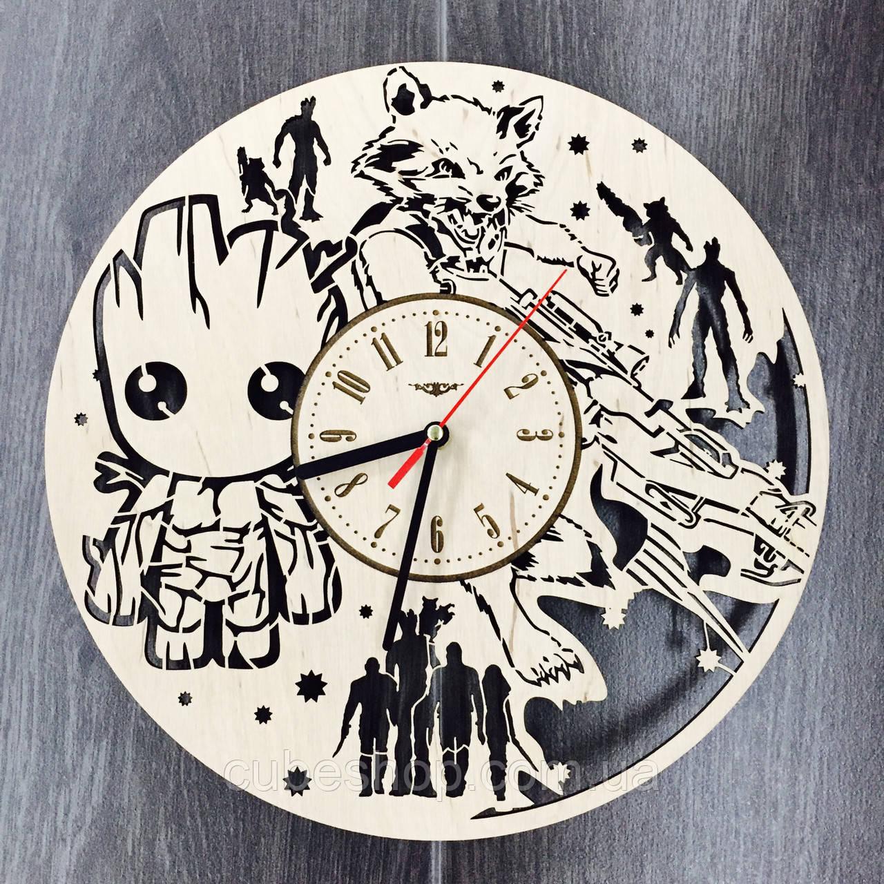 Деревянные настенные часы Стражи Галактики