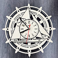 Деревянные настенные часы Штурвал, фото 1