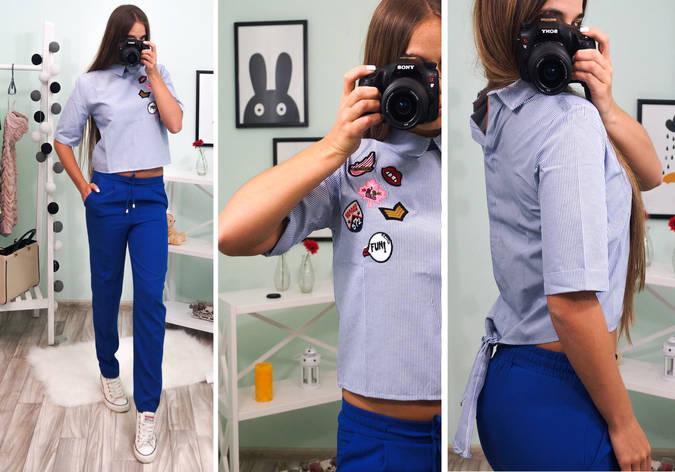 """Женская рубашка модного фасона """"Укороченная, декорирована нашивками"""" Турция, фото 2"""