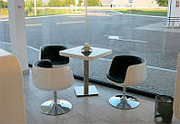 Дизайнерское кресло Яффо, черно-белый кожзам