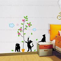 """Наклейка на стену, виниловые наклейки, украшения стены наклейки """"Играющие Коты"""""""