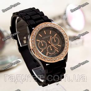 Женские наручные часы Geneva Crystal,черного цвета.Женские часы., фото 2