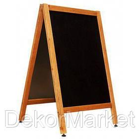 Штендер меловый двухсторонний 100х60 см. Светлый цвет рамы