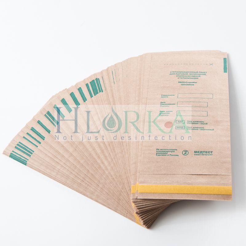 Крафт пакеты 150х280 для паровой, воздушной, этиленоксидной стерилизации, 100 шт