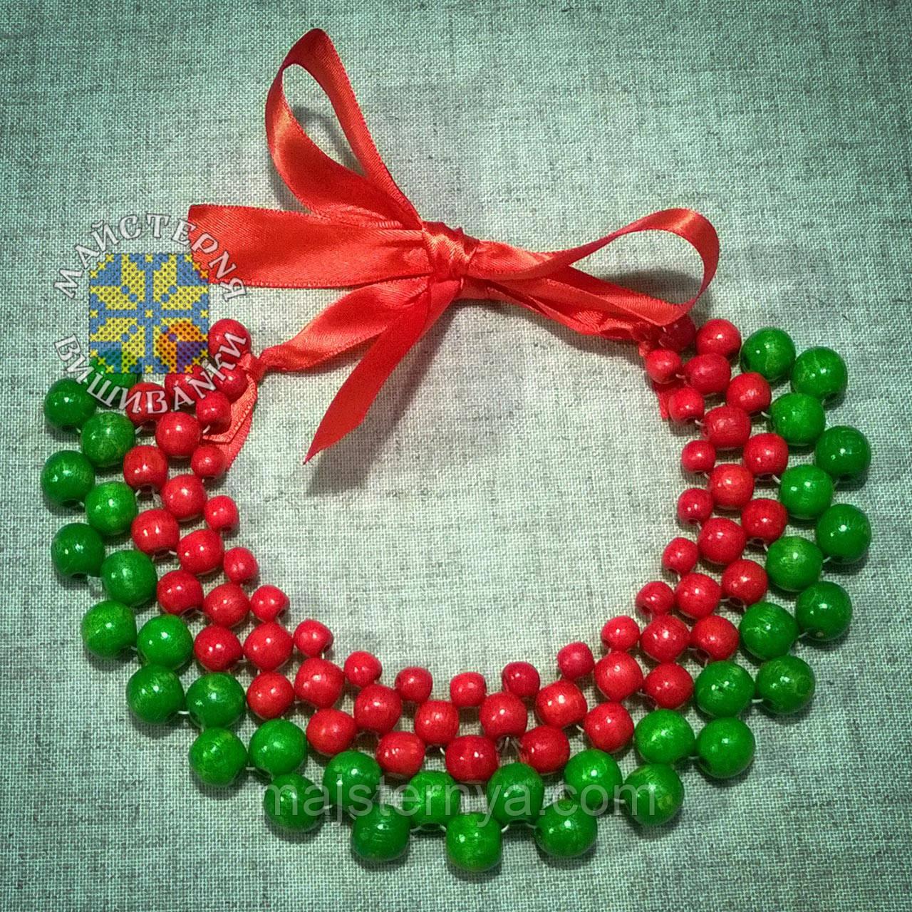 """Намисто """"Кольє"""" із дерев'яних бусин червоного та світло-зеленого кольорів"""