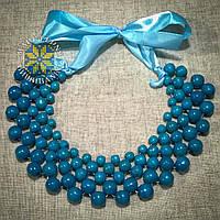 """Намисто """"Кольє"""" голубе, виготовлене з дерева, фото 1"""