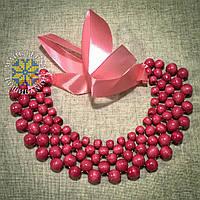"""Намисто """"Кольє"""" із дерев'яних бусин рожевого кольору, фото 1"""