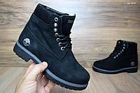 Женские зимние ботинки в стиле Timberland черные мех овчина , фото 1