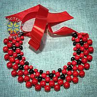"""Намисто """"Кольє"""" із дерев'яних намистин червоного та чорного кольорів"""