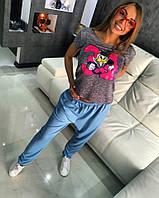 """Веселая, молодежная футболка """"Дональд 34"""", нашивка из мерцающих пайеток"""
