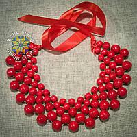 """Намисто """"Кольє"""" червоне (великі намистини)"""