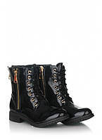 Черные лаковые ботинки на шнуровке 16-C6008-1B