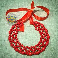"""Намисто """"Кольє Рішельє"""" виготовлене з червоних намистин різних розмірів"""