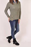 Джемпер-обманка женский вязаный (цвет оливковый) размер 44-46 Caroon 5264SW