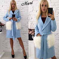 Модный тренч Пальто с мехом на карманах (серое и голубое)