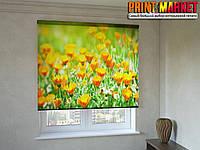 Рулонные шторы с фотопечатью цветы календулы