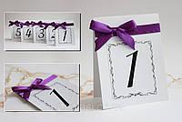 Номер односторонний на свадебный стол с фиолетовым одинарным бантом (1,5 см)