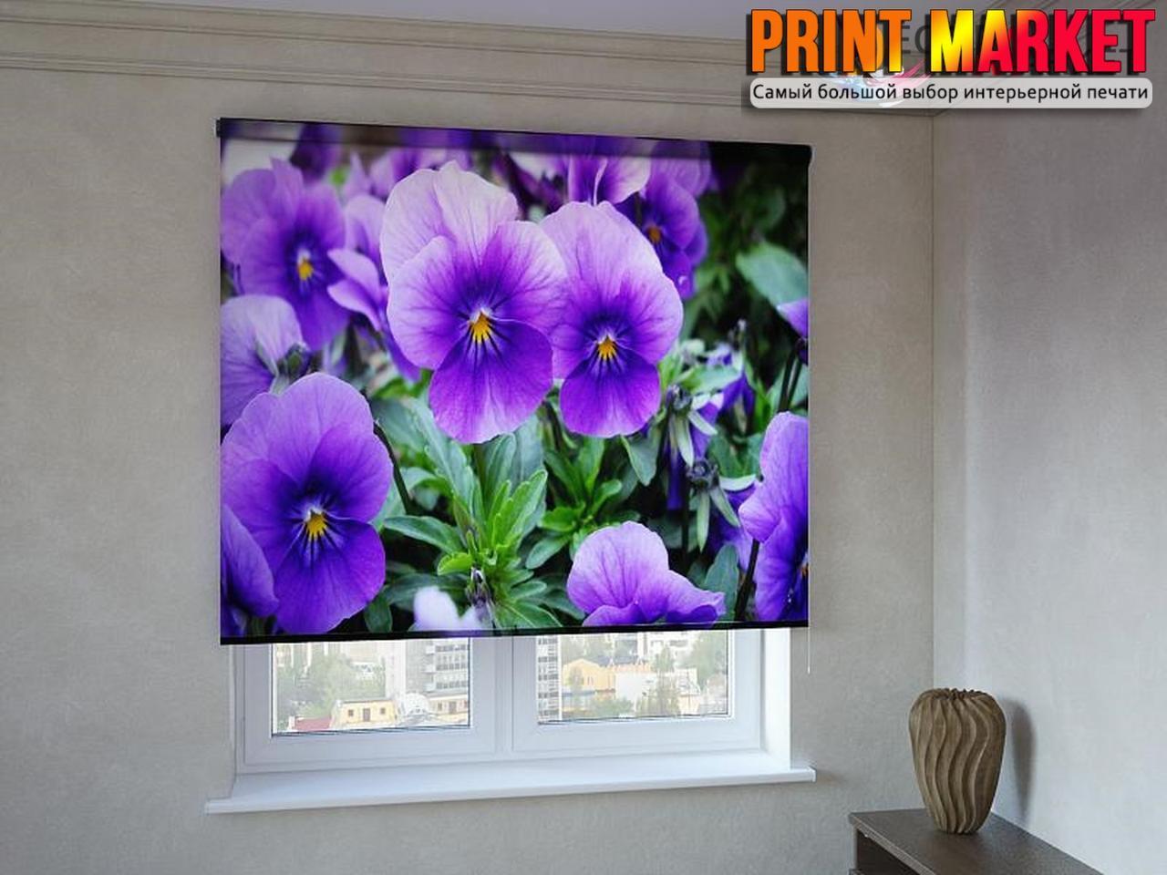 Рулонные шторы с фотопечатью цветы Анютины глазки