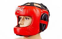 Шлем боксерский с бампером everlast кожаный красный