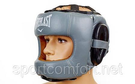 Шлем боксерский с бампером everlast кожаный серый