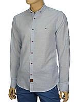Стильная голубая мужская рубашка Еnisse EGU1221