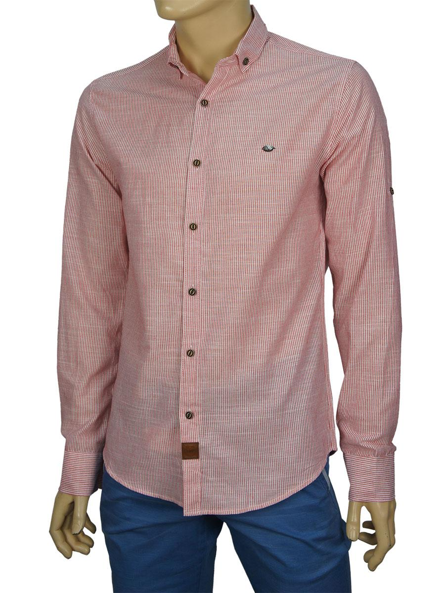 f6e7df7f5012e68 Стильная мужская рубашка Еnisse EGU1221 красная для настоящих мужчин ...