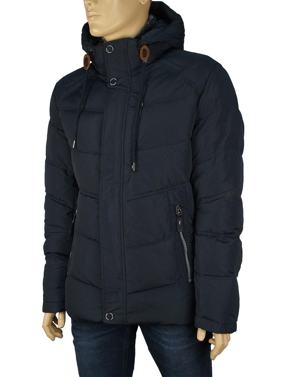 Зимняя мужская куртка с капюшоном Kings Wind W808 #3 в темно-синем цвете
