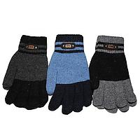 Зимние перчатки для мальчиков (подросток, двойная вязка) 5687 оптом в Одессе