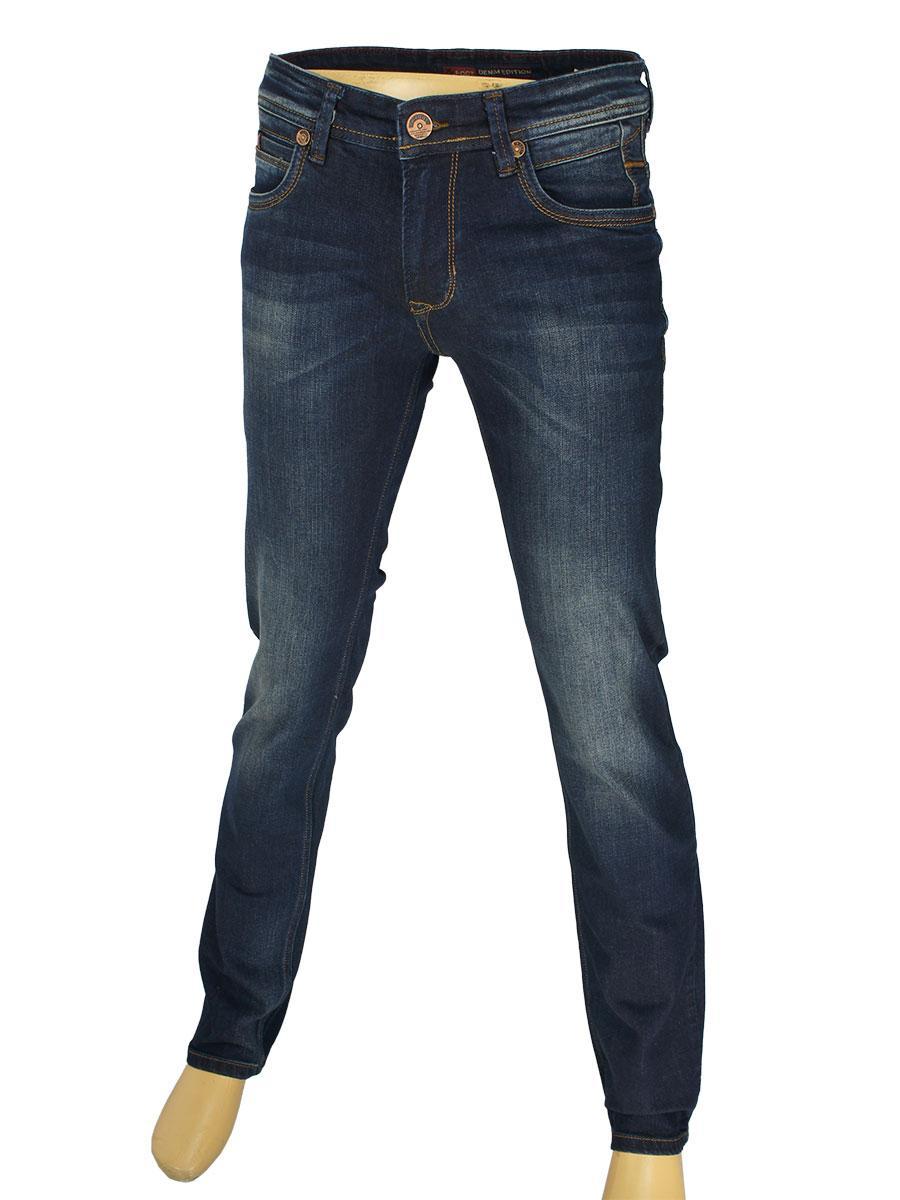Стильные мужские джинсы  X-Foot 140-2061 в темно-синем цвете