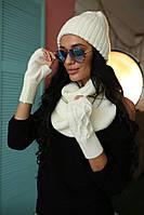 Зимний вязанный комплект шапка+шарф+перчатки (разные цвета)