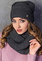 Вязанный набор шапка с ушками и шарф-снуд (разные цвета)