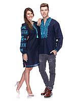 Вышиванки для пары из синего льна, фото 1