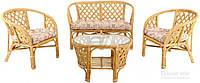Комплект мягкой садовой мебели из натурального ротанга светлый (2 кресла, диван и столик круглый)