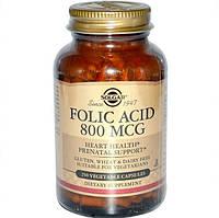 Фолиевая кислота, 800 мкг, 250 капсул, Solgar
