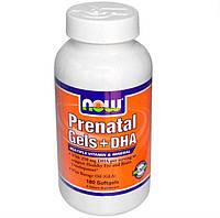 Мультивитаминный и минеральный комплекс витамин для беременных, Now Foods, Prenatal Gels + DHA, 180 капсул