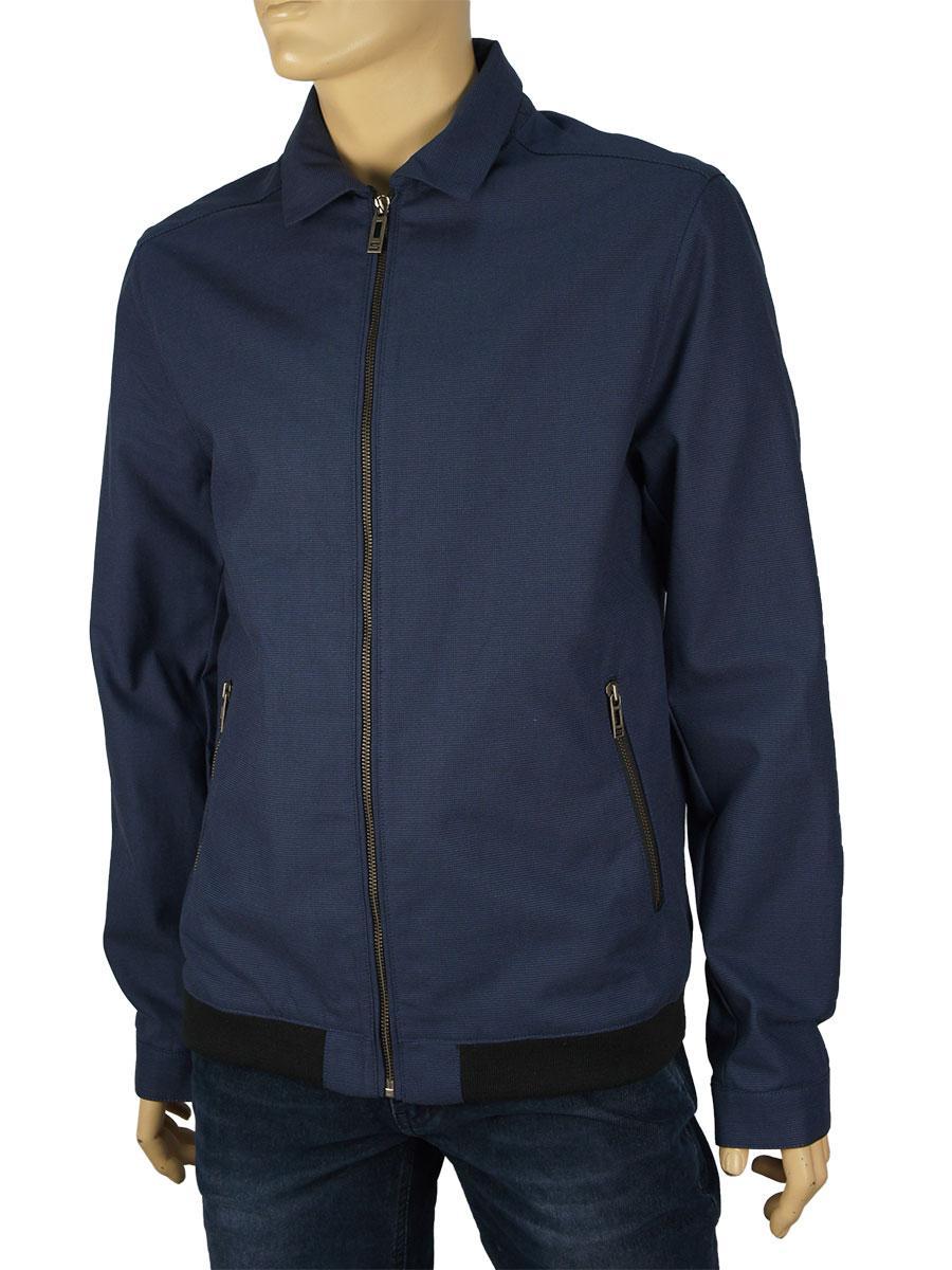 Чоловіча куртка вітровка темно-синього кольору Santorio SM 8246 Lacivert