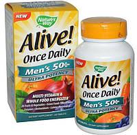 Витамины для мужчин за 50+, мульти витамины для мужчин, Nature's Way, Alive! Once Daily, 60 табл