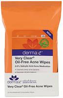 Влажные салфетки против угрей без масел Very Clear, Derma E