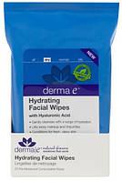 Влажные салфетки для лица с гиалуроновой кислотой, Derma E