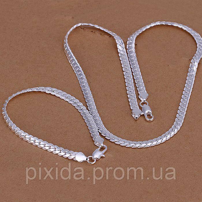 Набор Насечка  925 серебро  (браслет и цепочка)