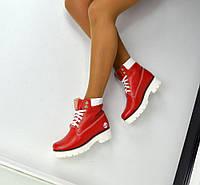 Женские зимние кожаные ботинки Timberl@nd красный цвет, 36-41р.