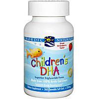 Рыбий жир для детей, Children's DHA, Nordic Naturals, клубника, 360желе