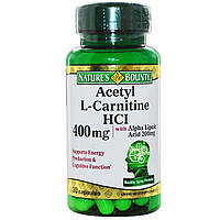 Ацетил -L карнитин, Nature's Bounty, 400 мг, 30 капсул