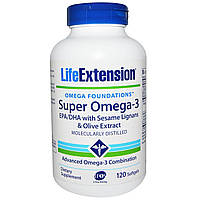 Омега-3 (супер), Omega-3, Life Extension, 120 капсул