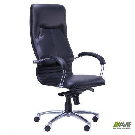 Кресло Ника HB хром Кожа Люкс комбинированная черная, фото 2